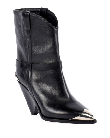 Image 1 of 4: Lamsy Low Leather Western Boots