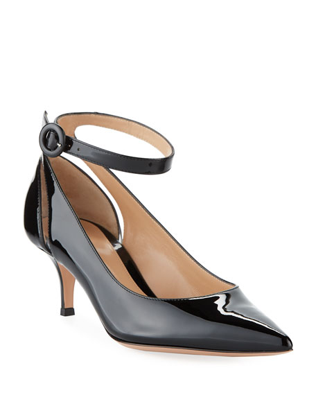 Image 1 of 4: Shiny Patent Low-Heel Ankle-Strap Pumps