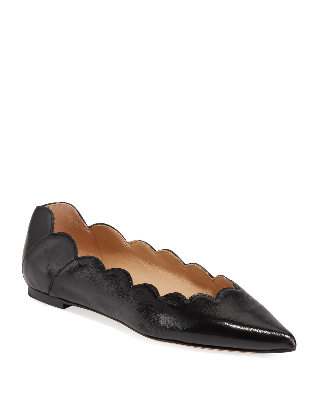 f4f0457f0bd Chloe Lauren Scalloped Point-Toe Ballet Flats