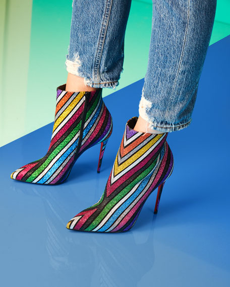 Christian Louboutin So Kate 100 Stripey Glitter Suede Red Sole Booties