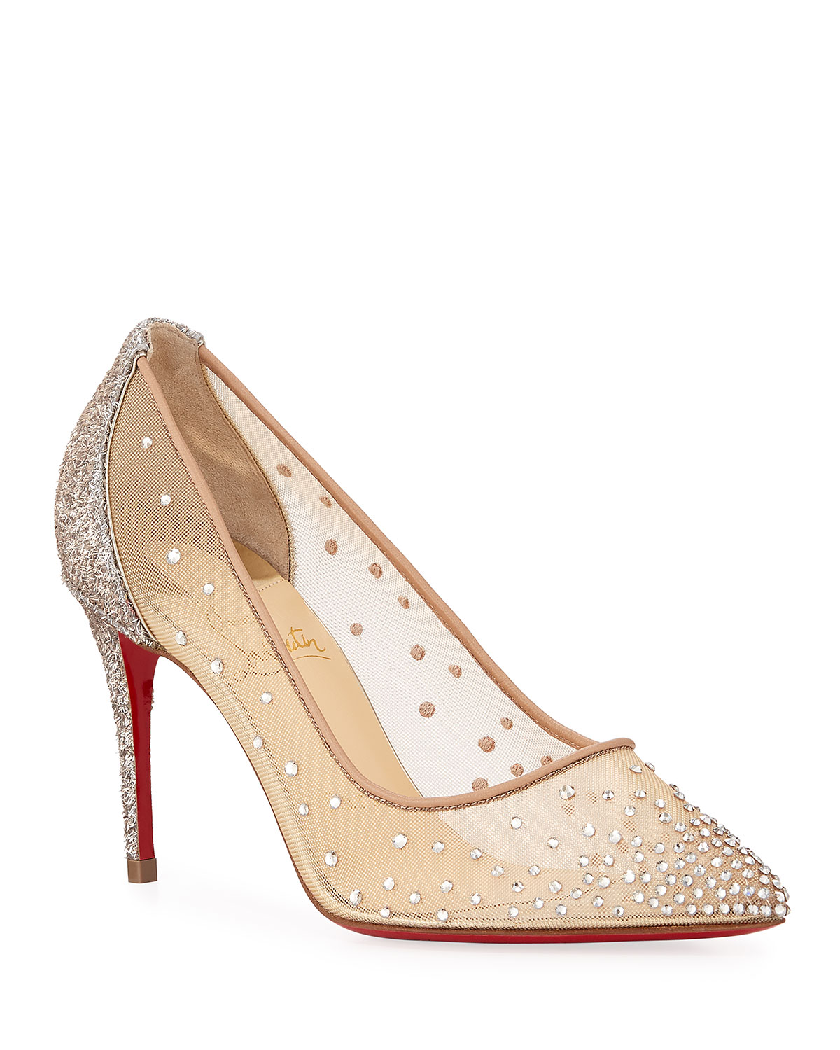 6888f78dfdac Christian Louboutin Follies Strass 85mm Glitter-Heel Mesh Red Sole Pumps
