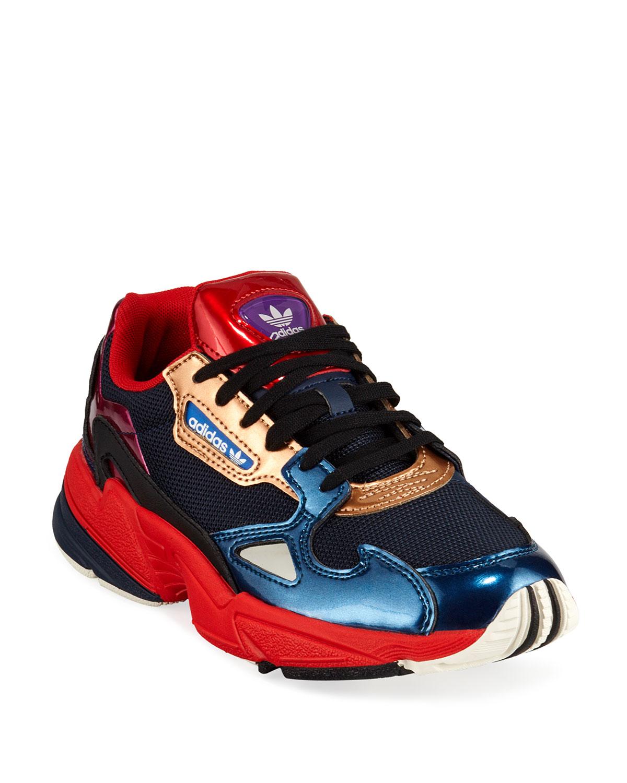 free shipping e2101 a2ddd Adidas Falcon Women s Colorblock Metallic Sneakers