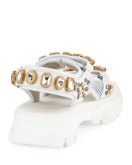 Gucci Metallic and Mesh Embellished Sandals