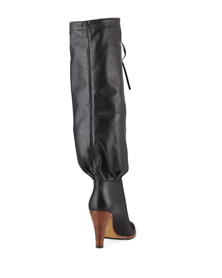 Gucci Leather Self-Tie Knee Boots