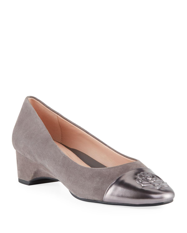 d5e5d3b55a Taryn Rose Babe Metallic-Capped Suede Ballet Pumps | Neiman Marcus