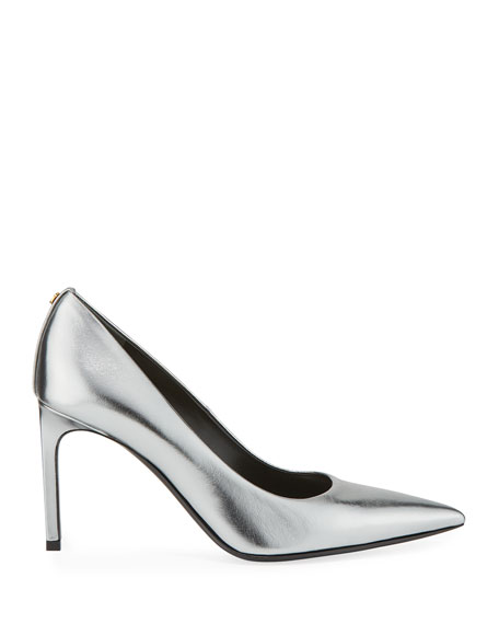 TOM FORD 85mm Metallic Leather Point-Toe Pumps