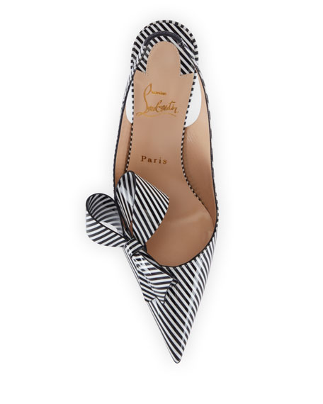 Christian Louboutin Clare Nodo Striped Side-Bow Red Sole Slingback Pumps