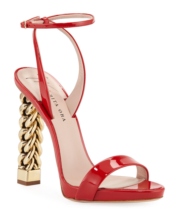 33d3b4b108ce3 Giuseppe Zanotti Patent Leather Chain-Heel Sandals | Neiman Marcus