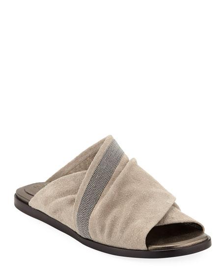 Brunello Cucinelli Rustic Suede Crisscross Sandals