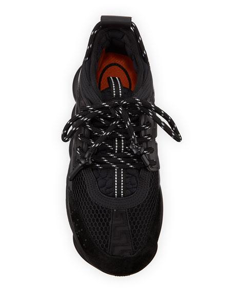 Versace Chain Reaction Mesh Chunky-Heel Sneakers