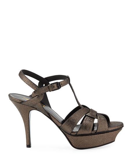 Saint Laurent Tribute Speckled Metallic Platform Sandals