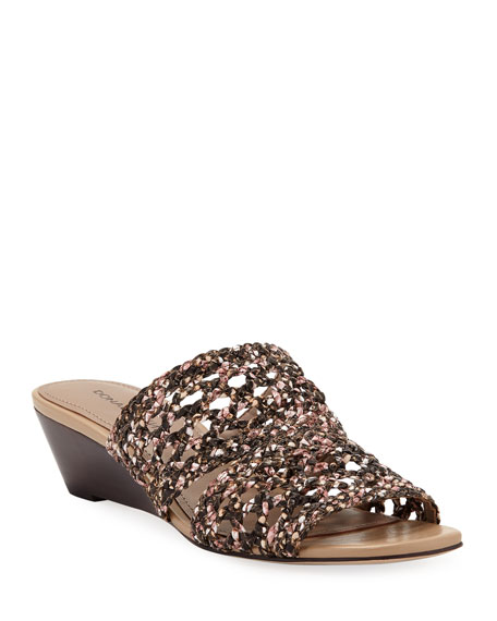 Donald J Pliner Albi Snake-Print Woven-Leather Demi-Wedge Slide Sandals