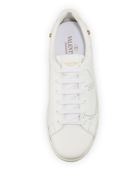 Valentino Garavani Leather Backnet Sneaker with Feathers