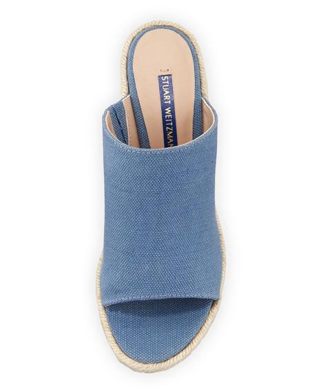 Stuart Weitzman Marabella Canvas Wedge Slide Sandals