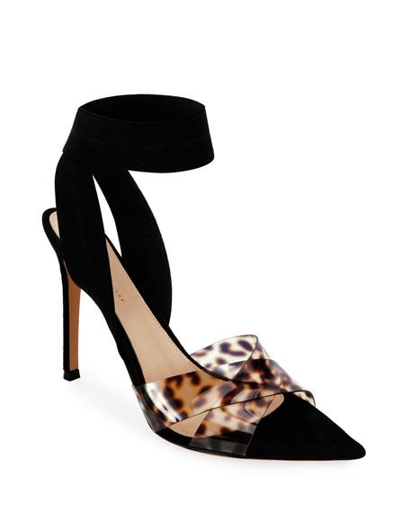 Gianvito Rossi Leopard Ankle-Wrap Pumps
