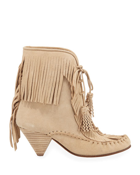 Coach Fringed Suede Moccasin Booties