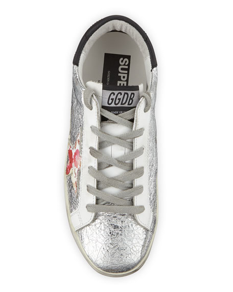 Golden Goose Superstar Crinkled Metallic Leather Sneakers