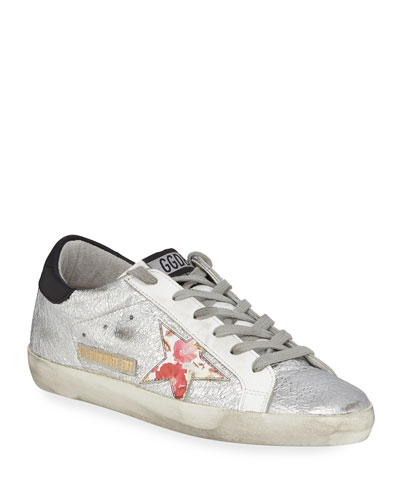 Superstar Crinkled Metallic Leather Sneakers