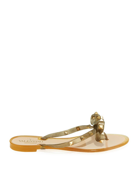 Valentino Garavani Rockstud Jelly Bow Thong Sandals