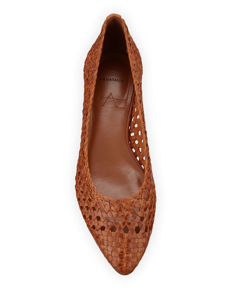 Aquatalia Penina Woven Leather Flats