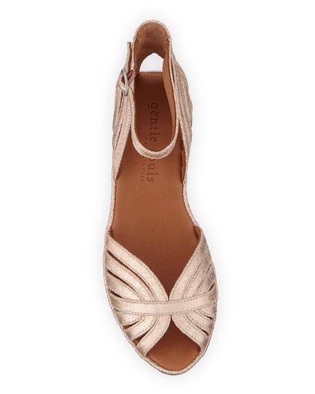 Gentle Souls Leah Metallic Demi-Wedge Comfort Sandals