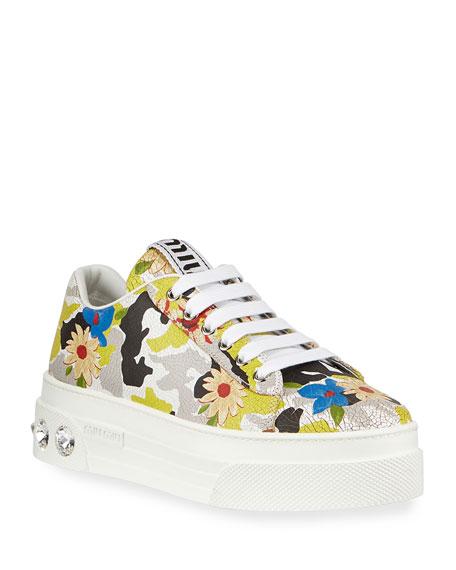 Miu Miu Floral Jeweled-Heel Sneakers