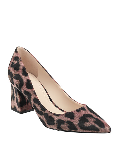 Marc Fisher LTD Leo Chunky-Heel Leopard Pumps