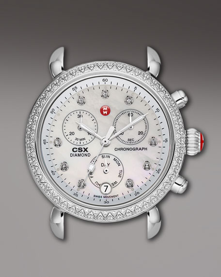 18mm CSX Diamond Watch Head, Steel