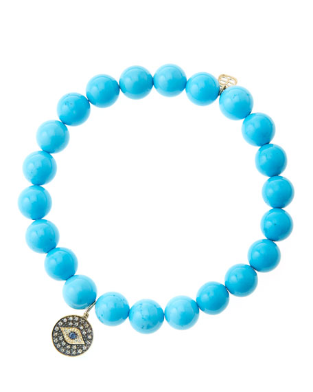 8mm Turquoise Beaded Bracelet with 14k Gold/Rhodium Diamond
