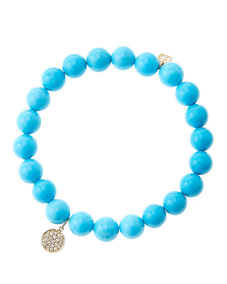 8mm Turquoise Beaded Bracelet with Mini Yellow Gold