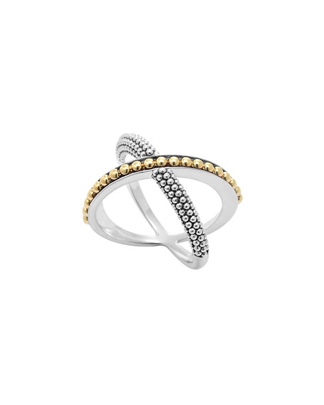 Lagos Sterling Silver & 18k Infinity Crossover Ring 1QWhB