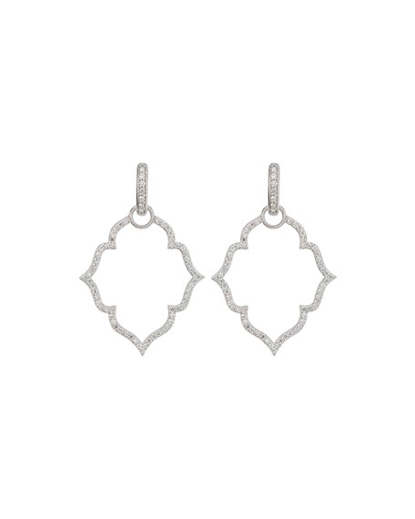 Image 1 of 1: White Gold Michelle Flower Earring Charm Frames