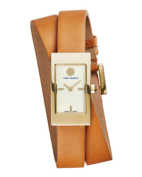 Tory Burch Watches Buddy Signature Double-Wrap Watch, Tan