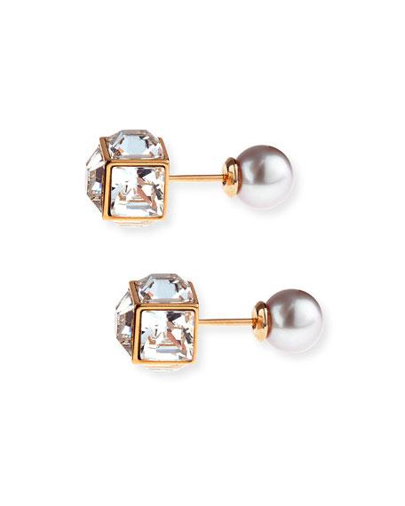 Double Cubo Gemma Pearl Earrings