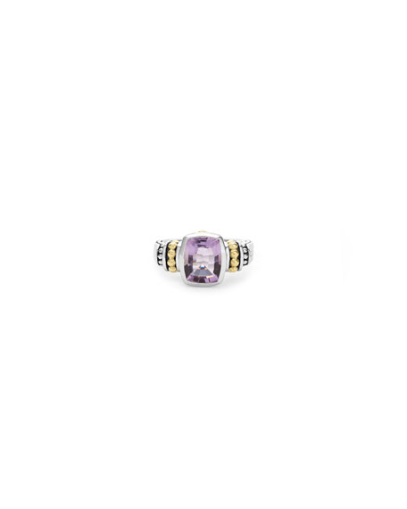 Caviar Color Faceted Ring, Size 7