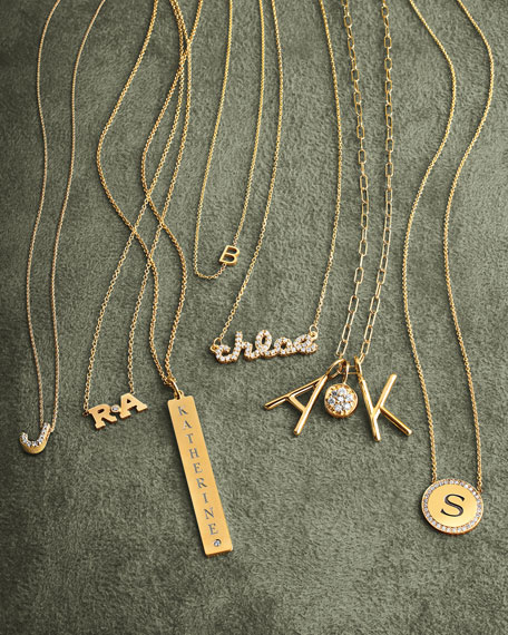 Sarah chloe necklaces 14k yellow gold mini letter necklace aloadofball Gallery
