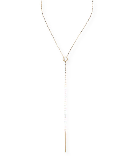 LANA Bond 14K Long Circle Lariat Necklace