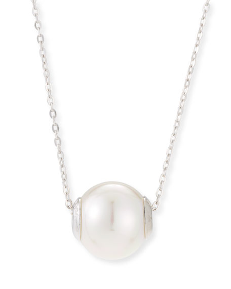Majorica 12mm Simulated Pearl Pendant Necklace, Silver/White