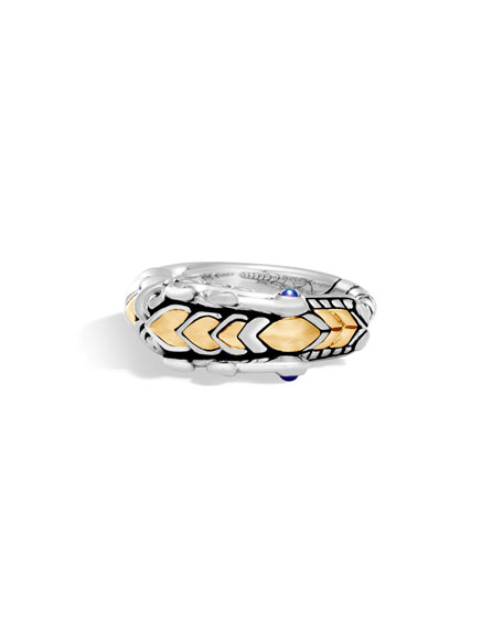 John Hardy Legends Naga 18K Gold & Silver Ring with Blue Sapphire Eyes