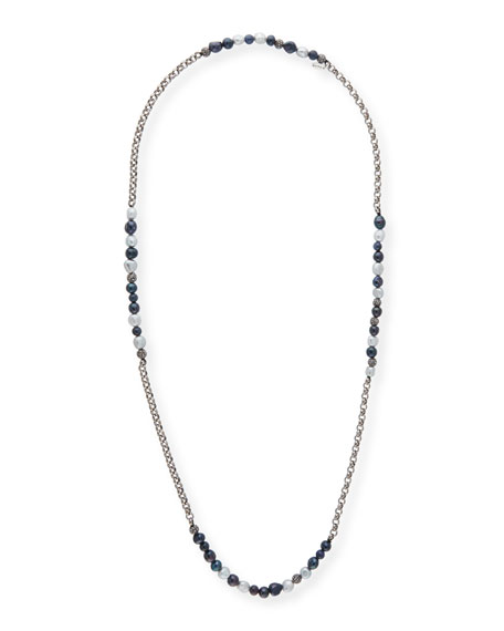 Hipchik Rolo Beaded Gunmetal Necklace