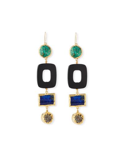 Turquoise & Black Horn Statement Earrings