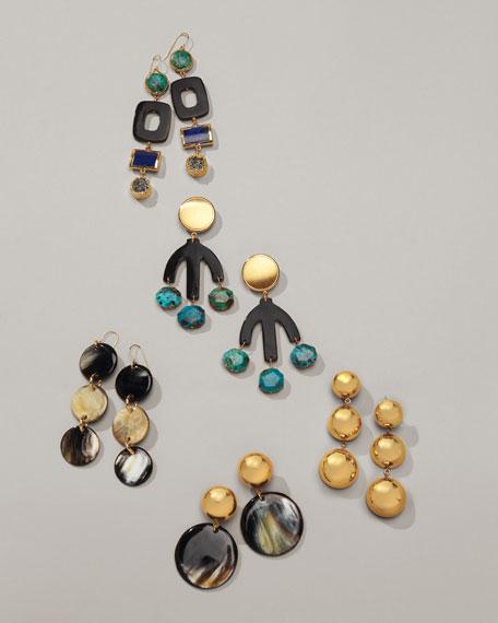 Horn Triple-Drop Disc Earrings