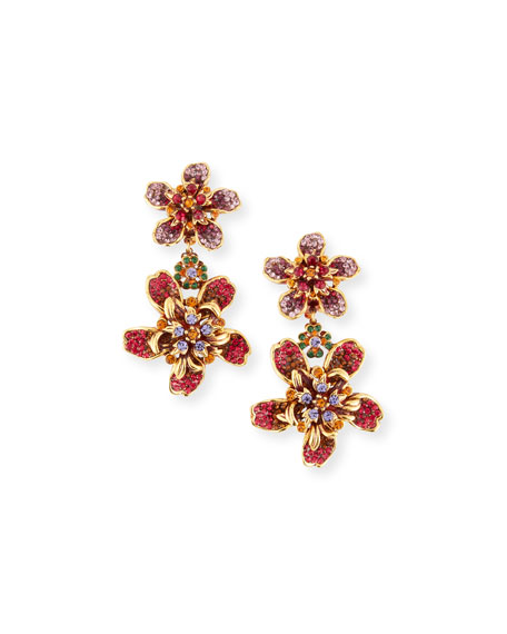 Pave Crystal Flower Double-Drop Clip-On Earrings