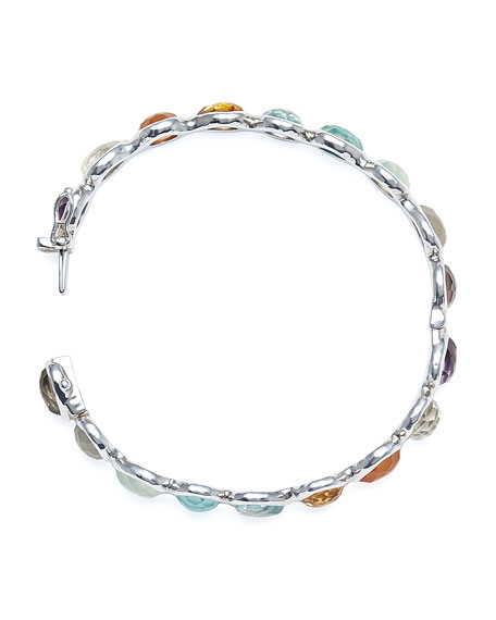 Ippolita Silver Rock Candy All Around Hinged Bangle in Eclipse