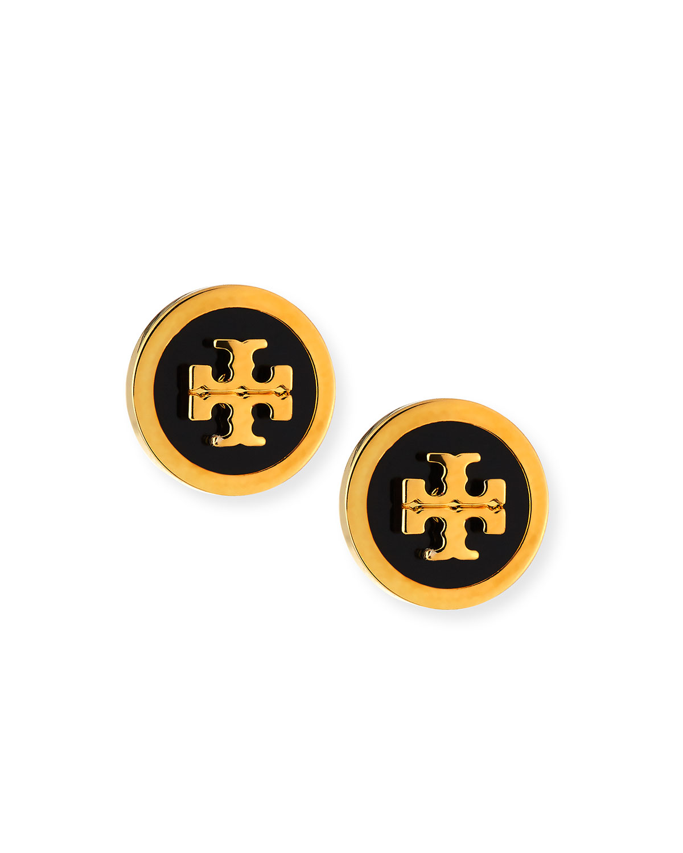 Tory burch lacquered logo stud earrings neiman marcus buycottarizona Images