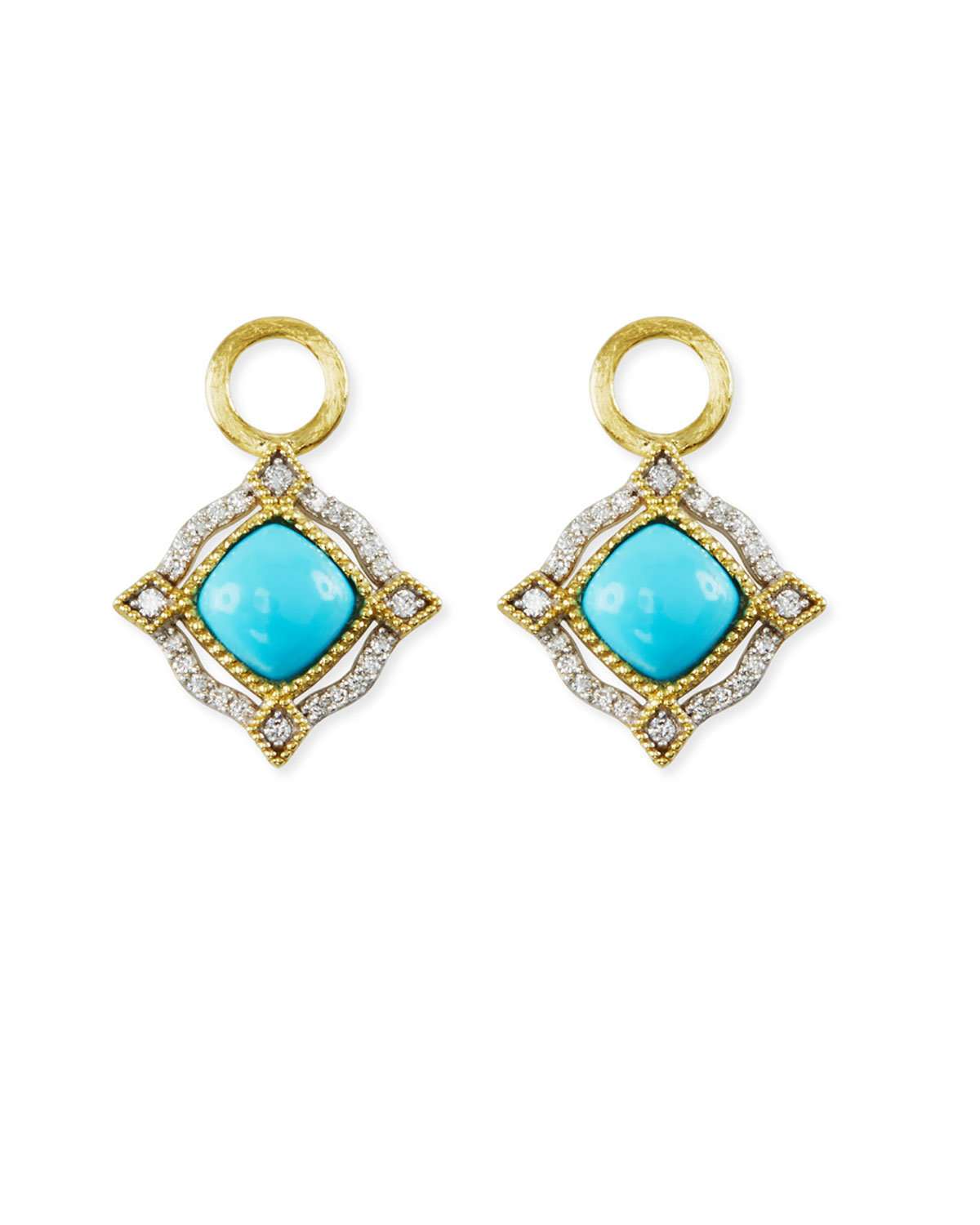 Jude Frances Lisse 18K Delicate Cushion Turquoise Earring Charms with Diamonds QlY8eooXbF