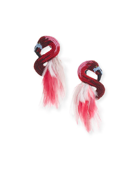 Mignonne Gavigan Flamingo Stud Earrings w/ Feathers Jq9iP4ol