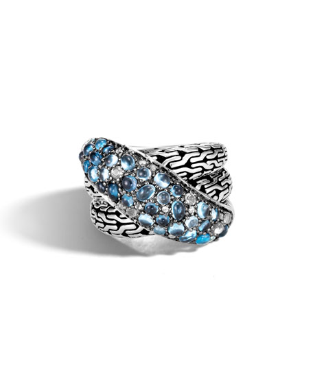 John Hardy Classic Chain Crossover Pave Ring