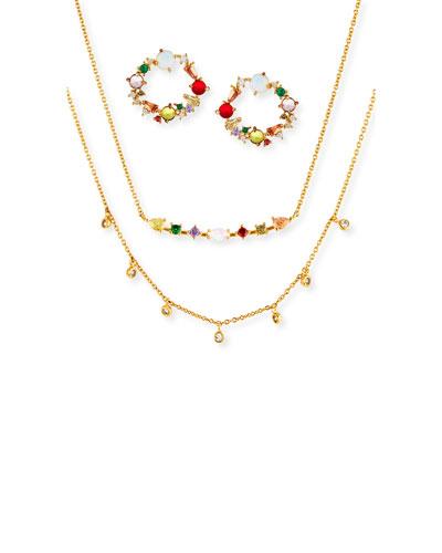 Cubic Zirconia Rainbow Earrings & Necklace Set