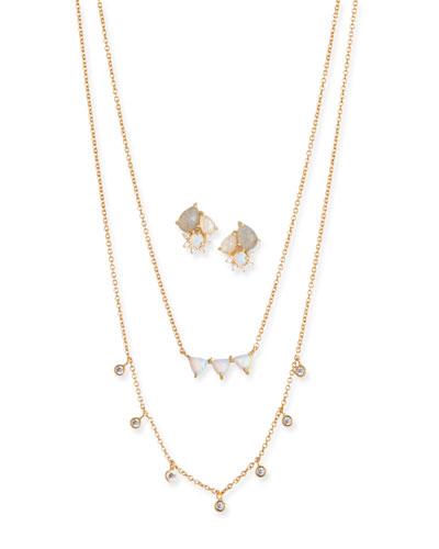 Cubic Zirconia Opal Earrings & Necklace Set